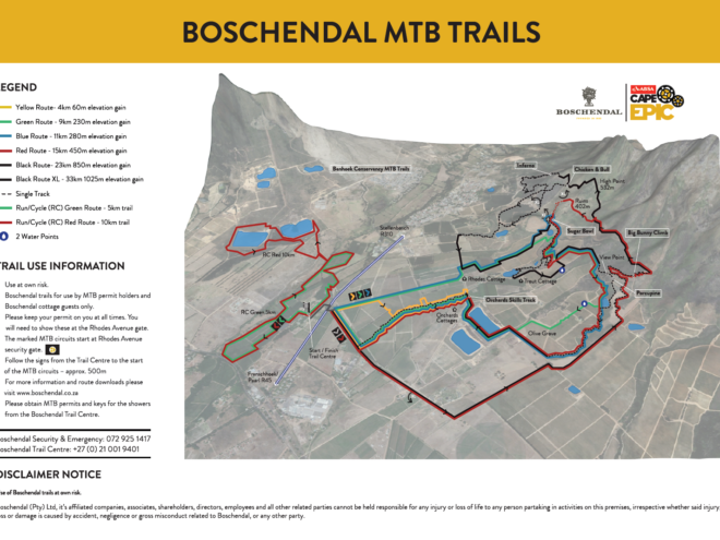 Boschendal MTB trail map