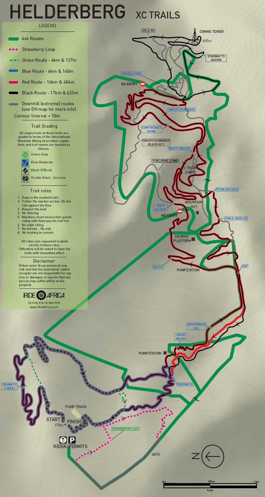 Helderberg MTB trail map XC iRide AfricaiRide Africa