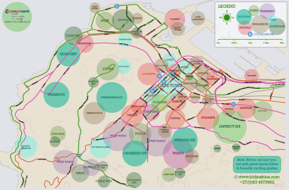 Cape Town cycling map for cyclists - iRide AfricaiRide Africa